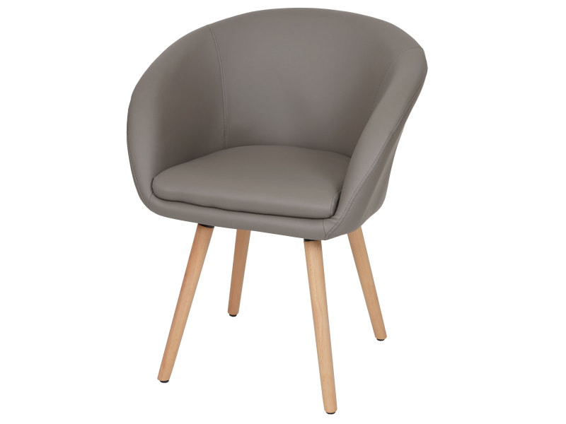 Chaise de salle à manger malmö t633, fauteuil, design rétro des années 50 ~ similicuir, taupe