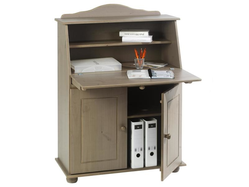 bureau secr taire david rangement avec abattant tag res et 2 portes en pin massif lasur taupe. Black Bedroom Furniture Sets. Home Design Ideas