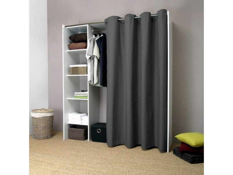pix dressing extensible blanc rideau anthracite avec tag res de rangements 20100831643 conforama. Black Bedroom Furniture Sets. Home Design Ideas