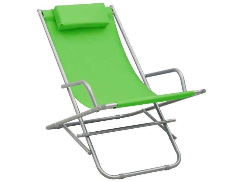 Vidaxl chaises à bascule 2 pcs acier vert 310339