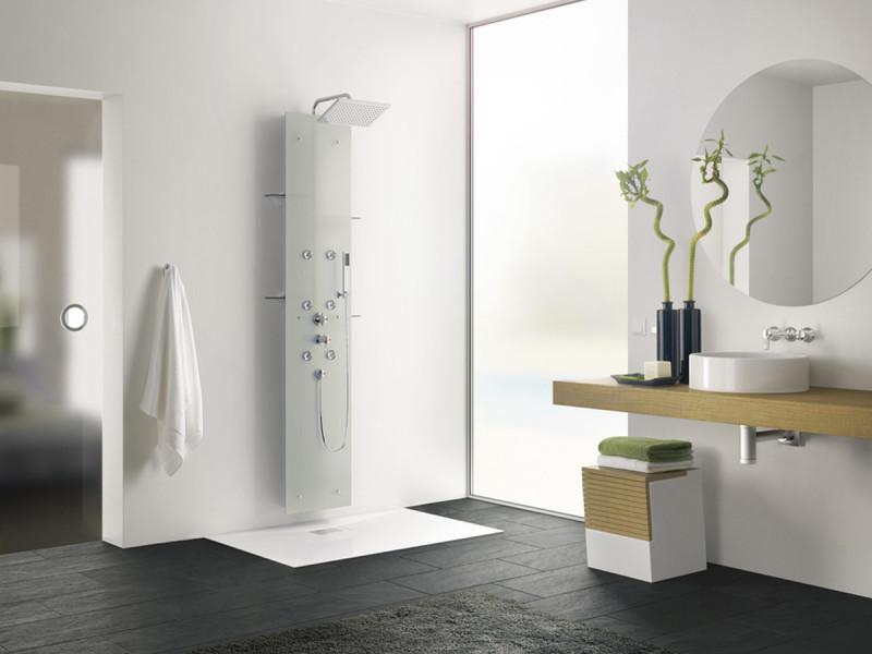 colonne de douche hydromassante aquaglass 203 x 39 cm verre d poli vente de kinedo. Black Bedroom Furniture Sets. Home Design Ideas
