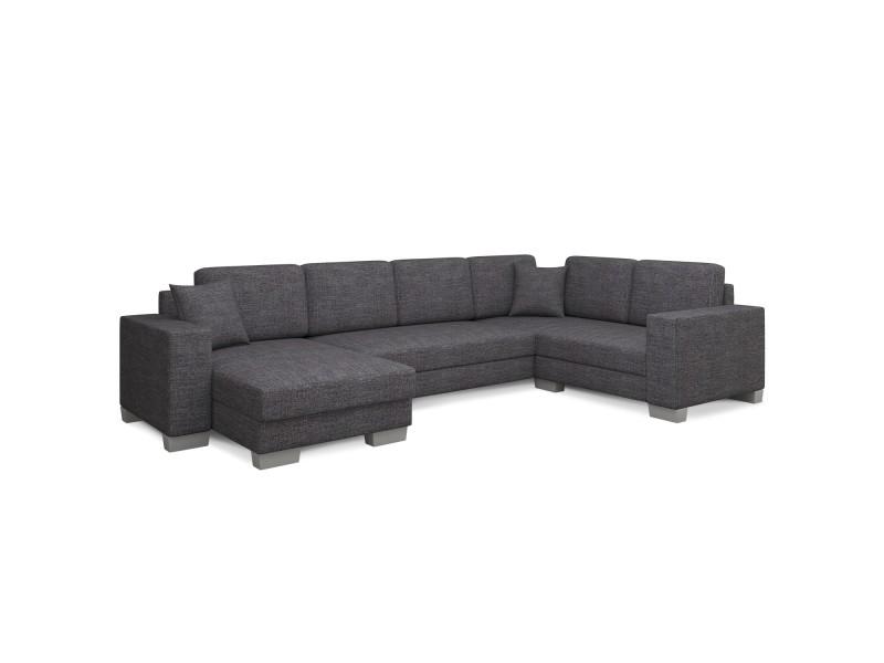 Canapé d'angle convertible marcos tissu gris foncé