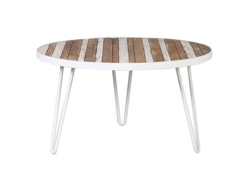 Table Basse Ronde Bois Et Métal Blanc 80x45 Rochelle Conforama