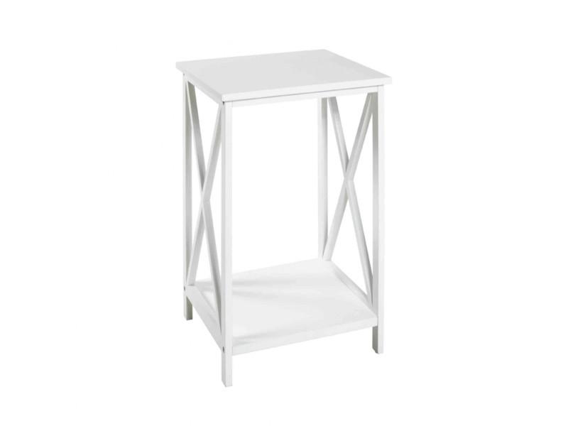 Table de chevet en bois laqué blanc - ch15004