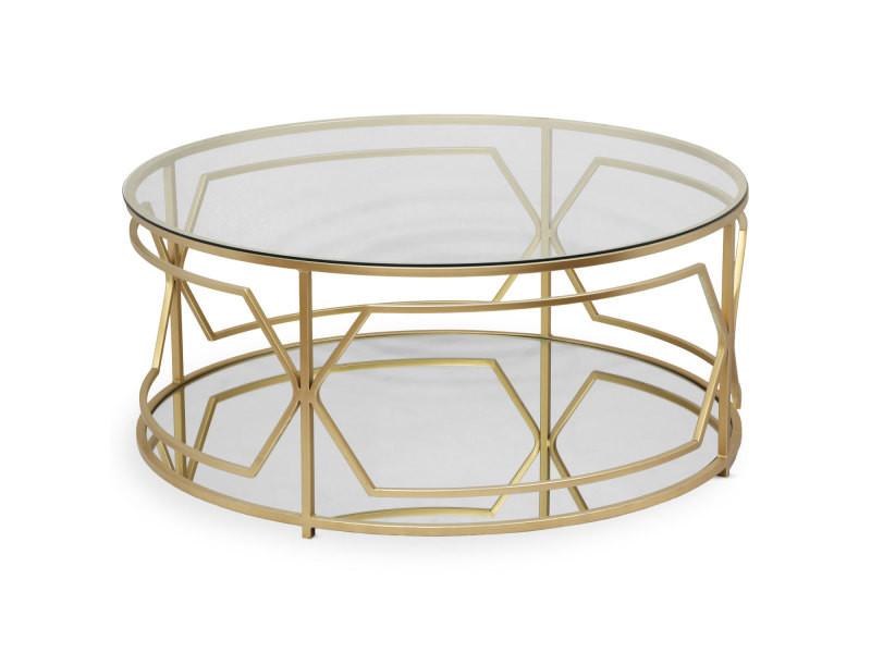 Table basse ronde bolano or et verre transparent