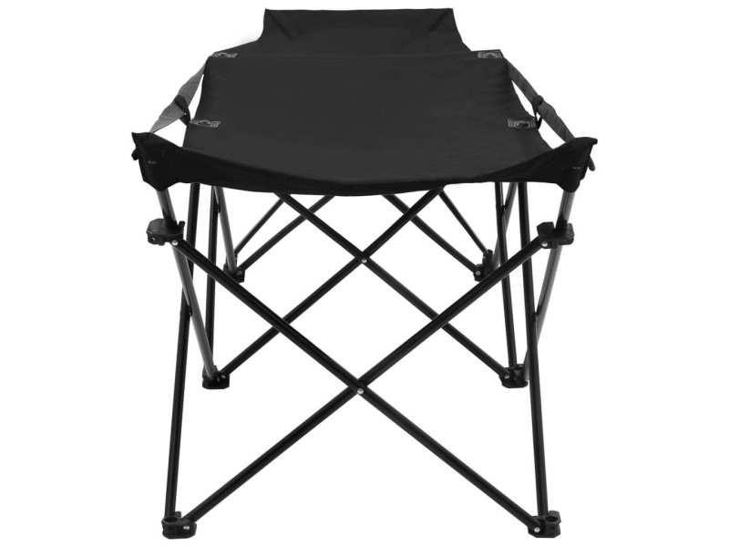 Vidaxl chaise longue pliable noir acier 47765 Vente de
