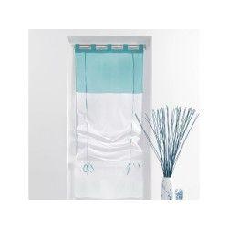 Un store droit à passant - rideau voile bicolore blanc / bleu  45 x 180 cm