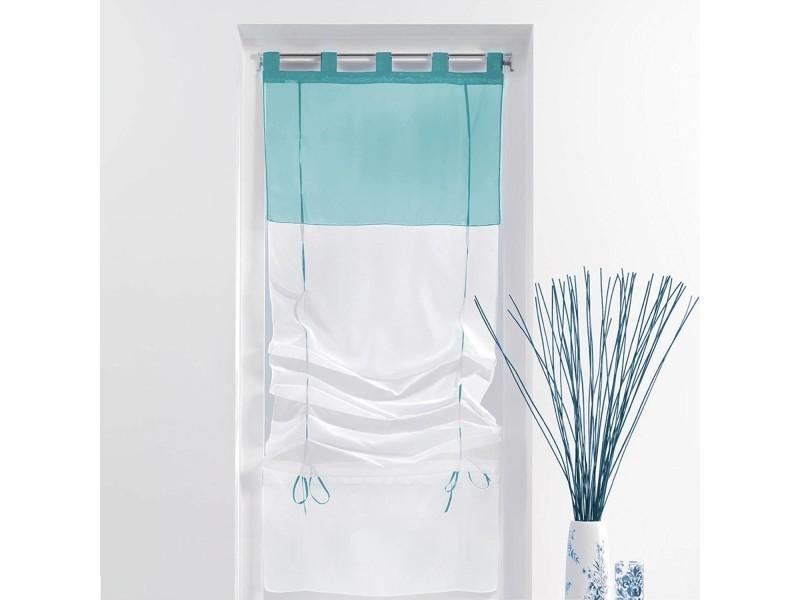 un store droit passant rideau voile bicolore blanc bleu 45 x 180 cm vente de rideau. Black Bedroom Furniture Sets. Home Design Ideas