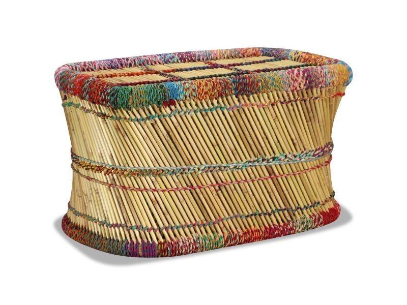 Distingué consoles ligne nicosie table basse bambou avec détails chindi multicolore