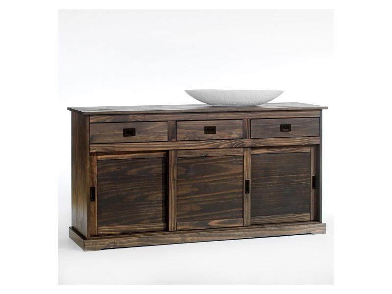 buffet savona bahut vaisselier commode avec 3 tiroirs et 3 portes coulissantes en pin massif. Black Bedroom Furniture Sets. Home Design Ideas