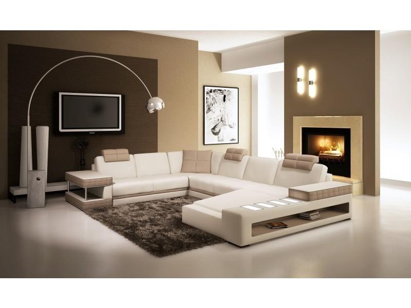 Canapé d'angle panoramique en cuir blanc et taupe marcus (angle droite)-