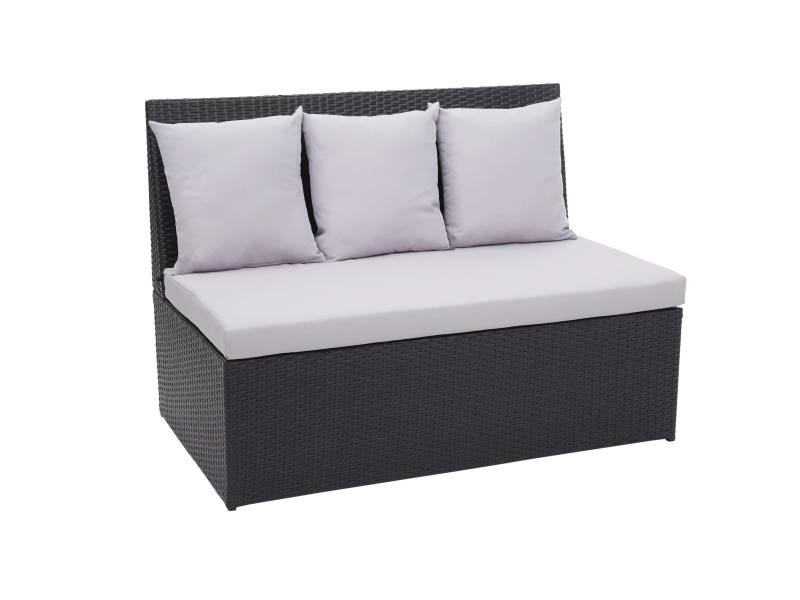 Canapé en polyrotin, 2 places hwc-g16, banc, fauteuil, gastronomie, 120 cm ~ noir, coussin gris clair