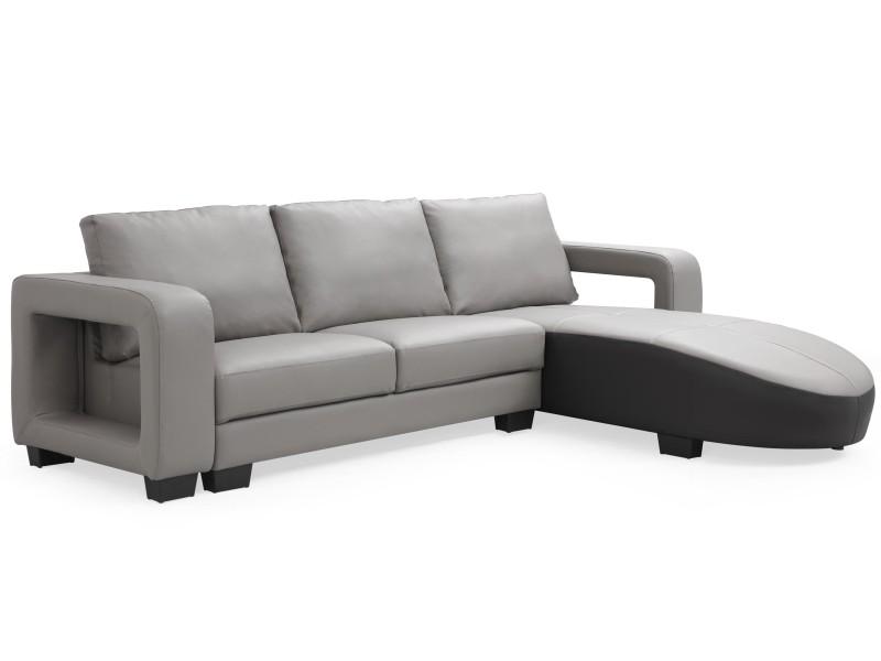 Canapé d'angle en simili cuir matha gris et noir
