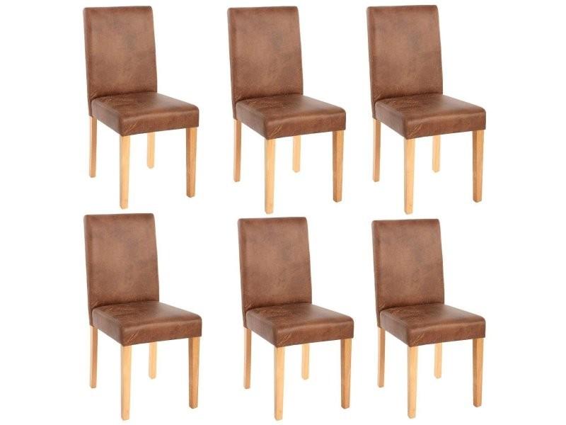 Lot de 6 chaises de salle manger simili cuir marron - Conforama chaises salle a manger ...
