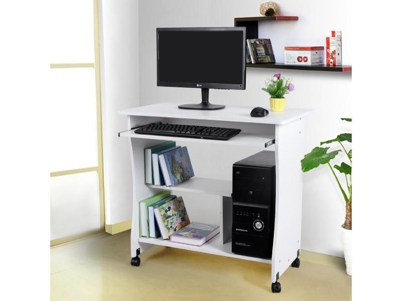 Superbe bureau informatique sur roulettes avec etag re for Bureau informatique avec etagere