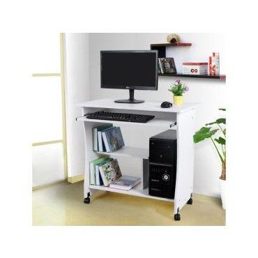 Superbe bureau informatique sur roulettes avec etagre blanc neuf