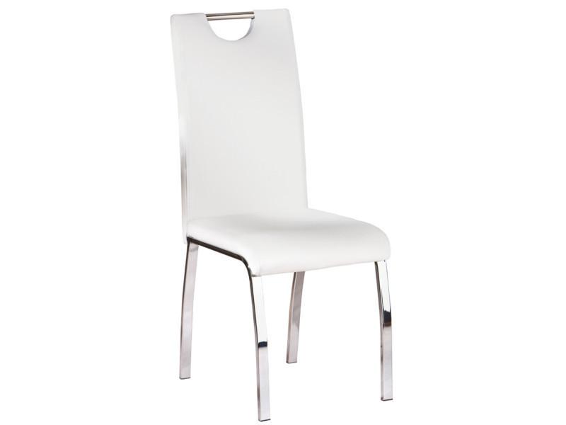 Lot de 2 chaise de cuisine blanc, dim : 44 x 102 x 54 cm -pegane-