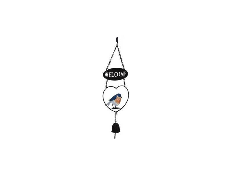 Suspension welcome cloche clochette motif oiseau à accrocher en métal 11,5x17x65cm