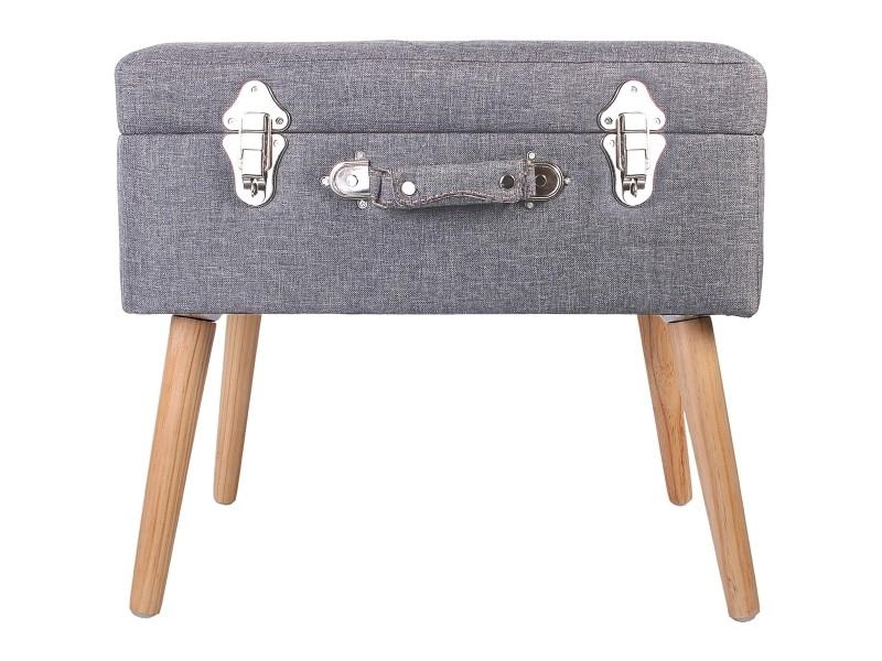 Coffre valise de rangement tabouret table de chevet meuble design gris foncé