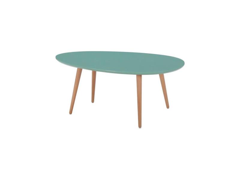 Stone table basse ovale scandinave vert menthe laque - l 98 x l 61 cm