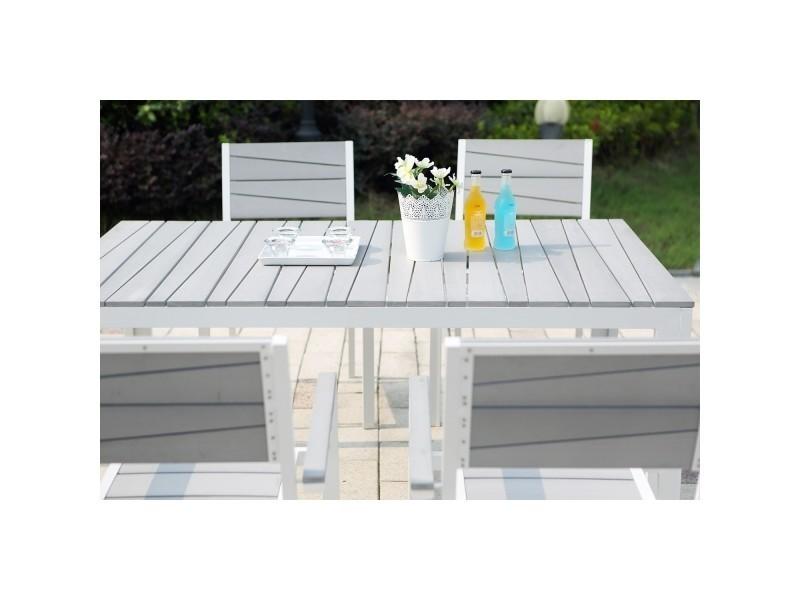 Siderno 6 : salon de jardin en aluminium et polywood gris ...