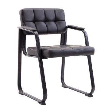 Chaise visiteur fauteuil de bureau sans roulette simili cuir