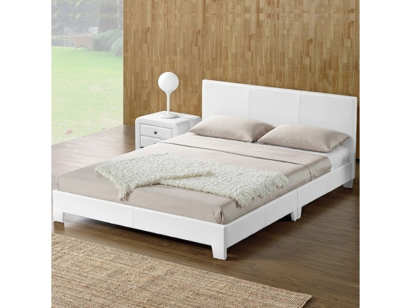 lit adulte complet t te de lit cadre de lit simpli blanc 140x190 vente de lit adulte. Black Bedroom Furniture Sets. Home Design Ideas
