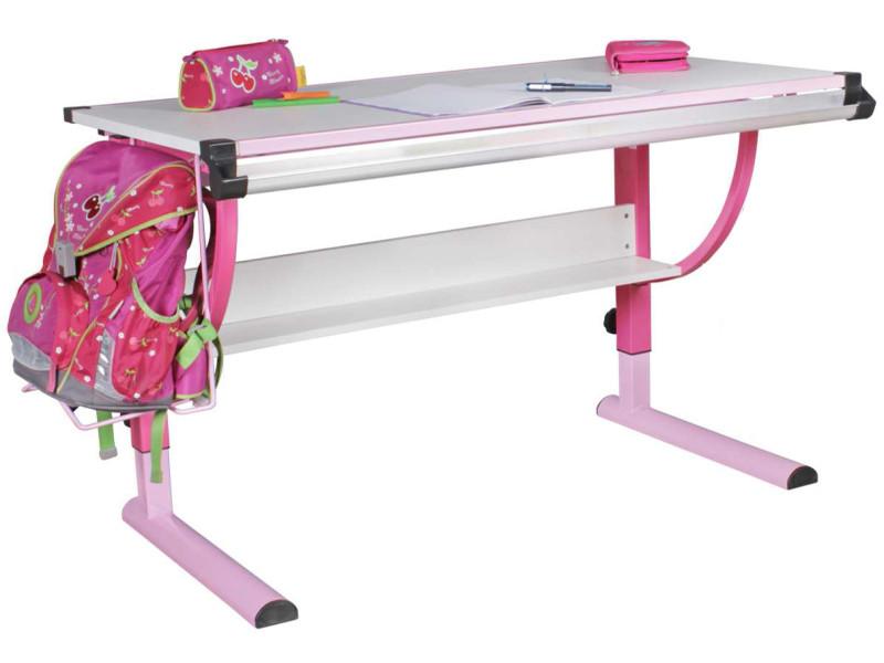 Bureau enfant réglable en hauteur 120x60cm coloris blanc et rose