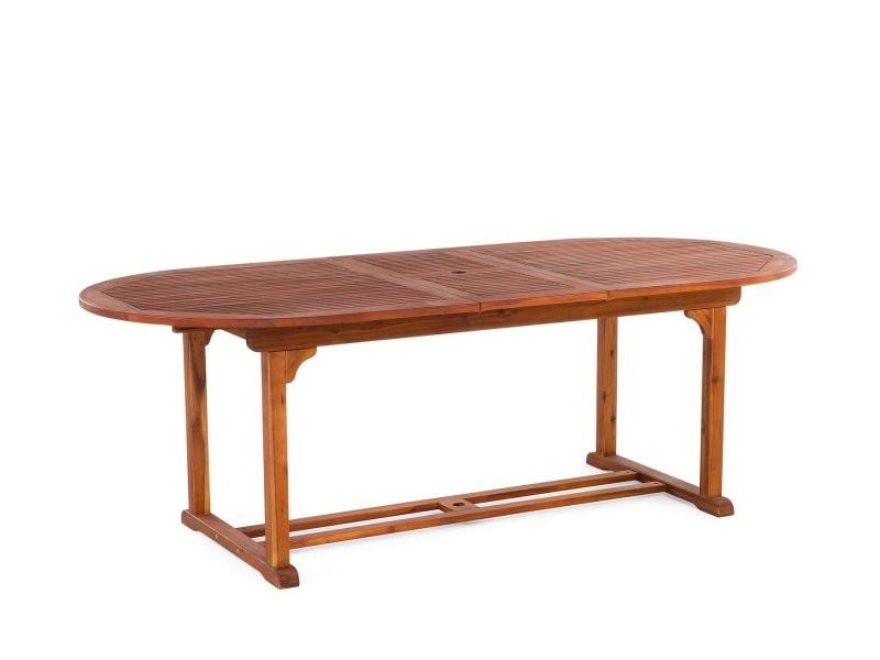 Table de jardin ovale en bois avec rallonges toscana 37378