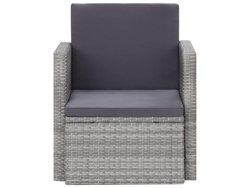 Vidaxl chaise de jardin avec coussins résine tressée gris 45781