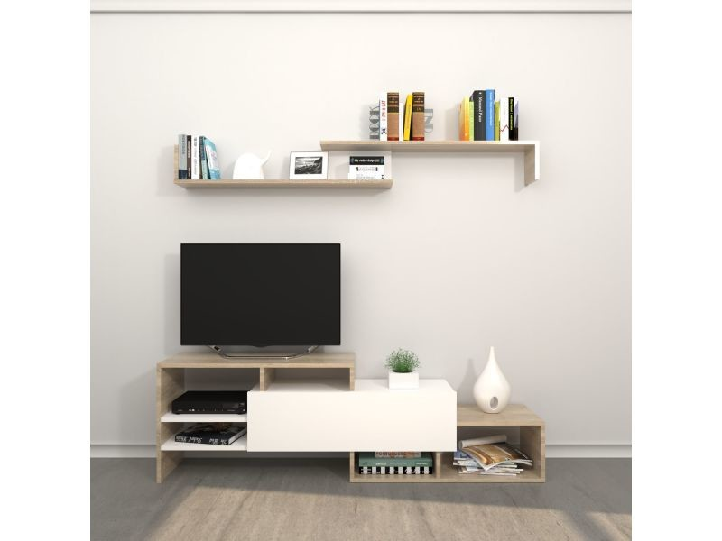 Meuble tv avec étagère design fenice - l. 150 x h. 45 cm - marron somona
