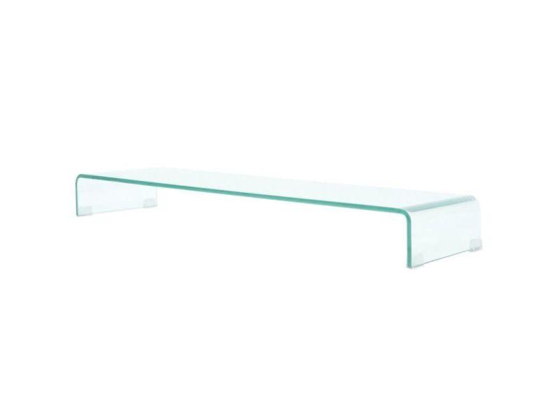 Meuble télé buffet tv télévision design pratique de moniteur 110 cm verre transparent helloshop26 2502034