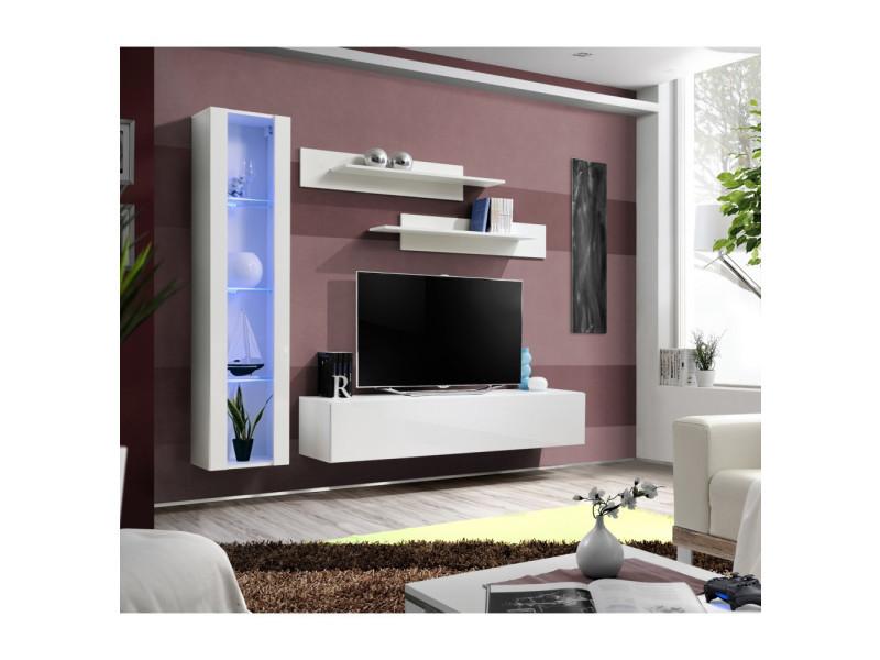 Ensemble meuble tv mural - fly ii - 210 cm x 190 cm x 40 cm - blanc