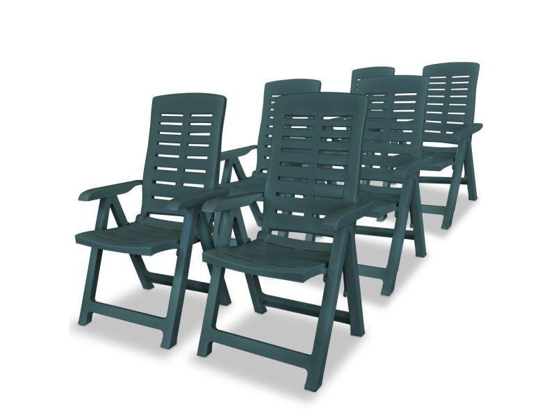 Vidaxl chaises inclinables de jardin 6 pcs plastique vert ...