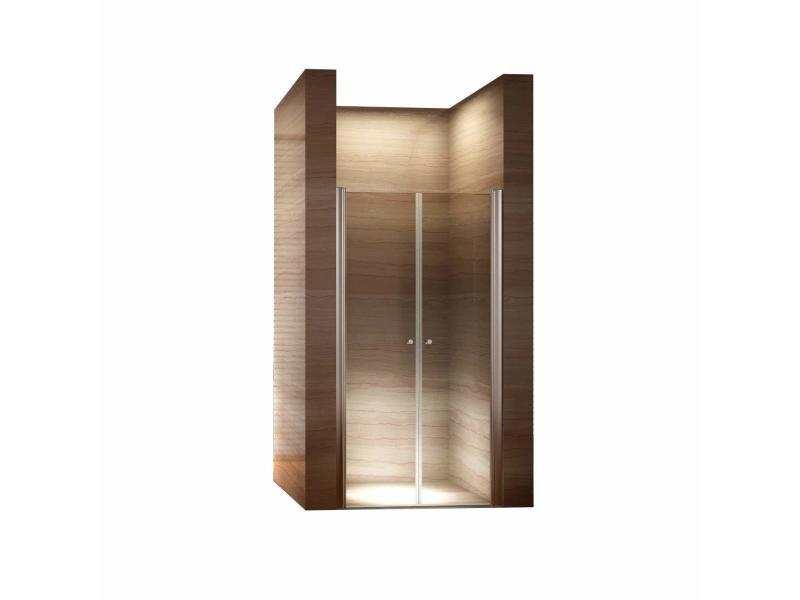 Porte de douche hauteur 185 cm - largeur réglable / verre dépoli avec traitement nano anti-calcaire (96 à 100 cm, dépoli / opaque)