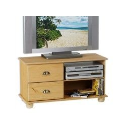 Meuble tv banc tv vintage pin massif finition cirée