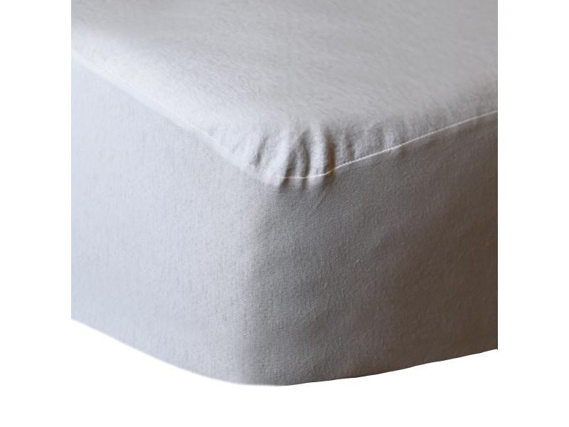 Protège matelas molleton en coton 200 gr/m² confort - blanc - 180x200 cm