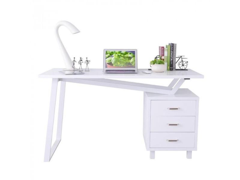Bureau informatique design blanc brillant vente de bureau