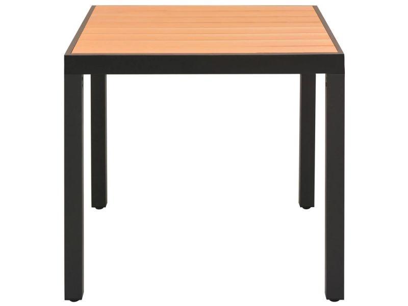 Icaverne - tables d'extérieur ensemble table à manger de jardin wpc aluminium marron 80 x 80 x 74 cm