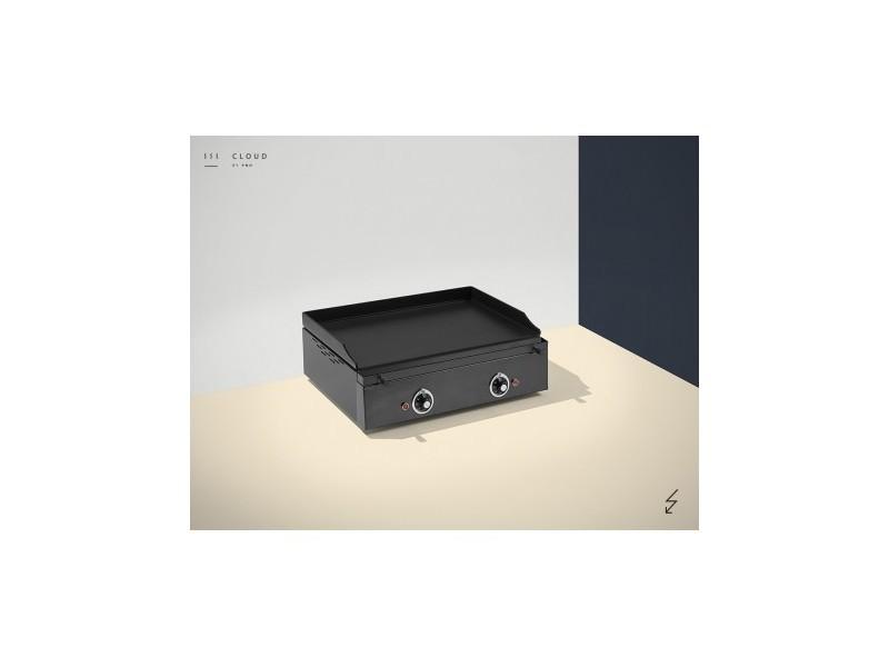 Plancha electrique colorée - 2 résistances - 600 x 400 x 226 mm - 10 mm d'épaisseur - pinha 2 - anthracite acier émaillé