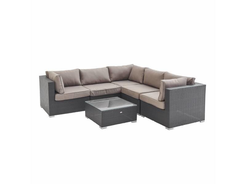 Salon de jardin en résine tressée - napoli - chocolat. Coussins marron - 5 places - 2 fauteuils sans accoudoir. 3 fauteuils d'angle. Une table basse