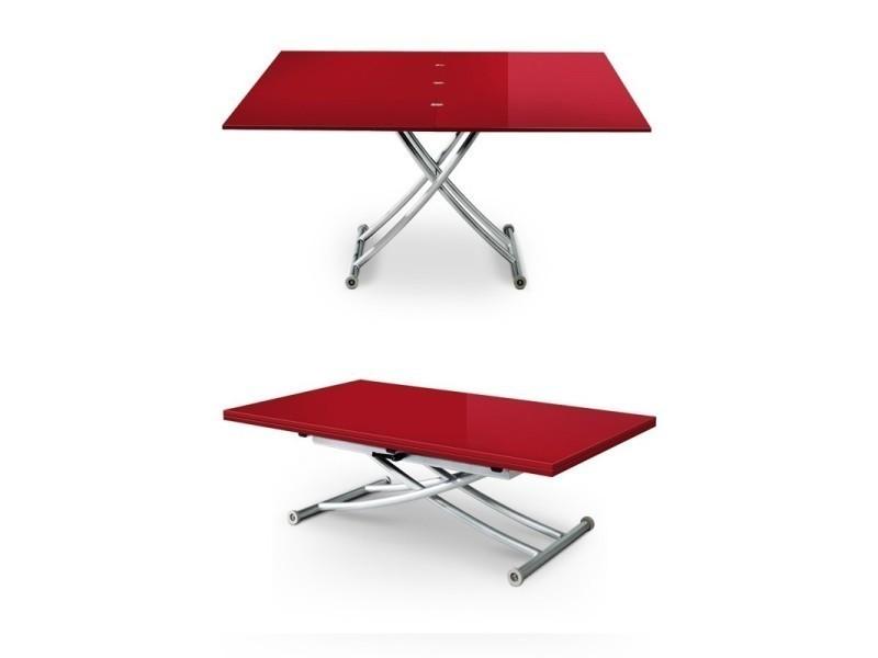 Table Basse Relevable Carrel Xl Rouge Laque Vente De Meubler
