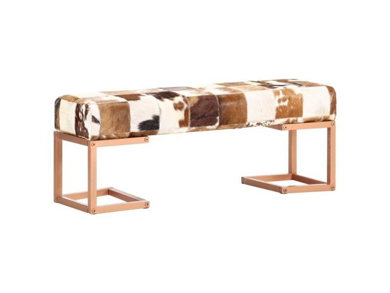 Contemporain bancs gamme yaren banc 110 cm marron patchwork cuir véritable de chèvre