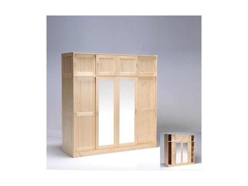 Armoire Morzine 4 4 Portes Avec 2 Miroirs Naturel 21721mn Vente De Weber Conforama