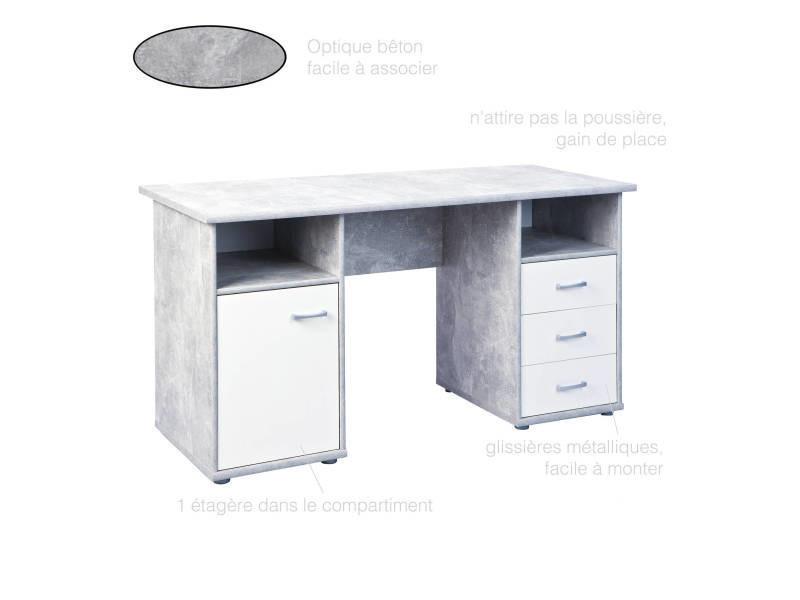 Bureau pc ordinateur tiroirs porte et compartiments décor béton