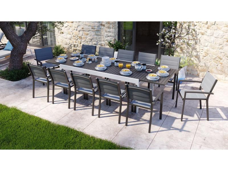 Ensemble table de jardin extensible 8 à 12 personnes aluminium blanche owen + 12 fauteuils noirs tony