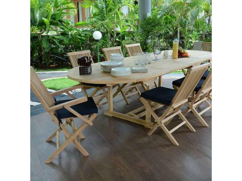 Salon de jardin en teck qualité ecograde biarritz, 8/10 places Teck ...