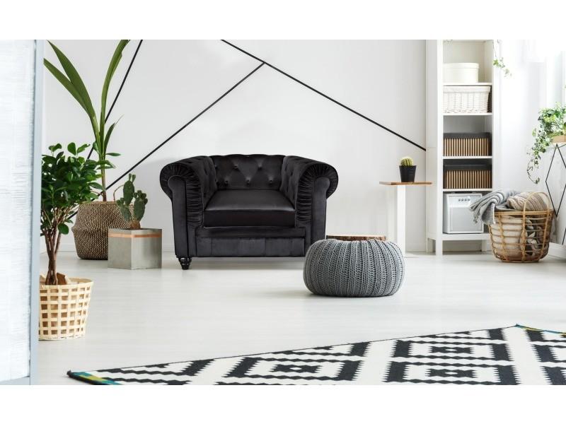 Grand fauteuil chesterfield velours noir