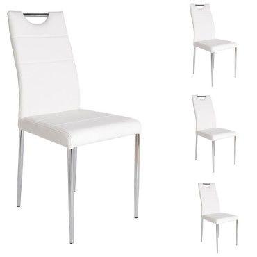 Quatuor de chaises simili cuir blanc apolline l 55 x l