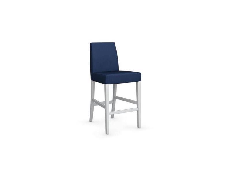 Chaise de bar latina piétement hêtre laqué blanc assise tissu bleu 20100839555